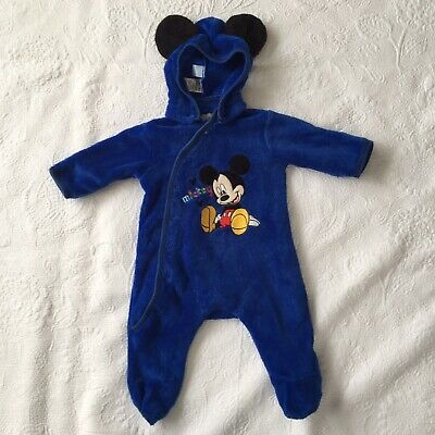 BOYS Size 00 Mickey Mouse Playsuit Romper One Piece Removable Hood Blue Disney