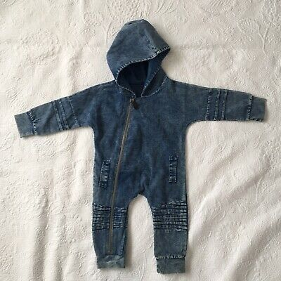 BABY BOYS Size 0 Denim Stone Wash Look Hooded Jumpsuit One Piece Romper