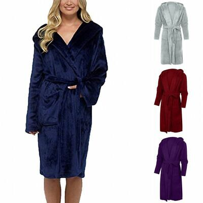 Women Warm Thick Hooded Coral Fleece Bath Robe Lady Gown Wrap Housecoat Dressing