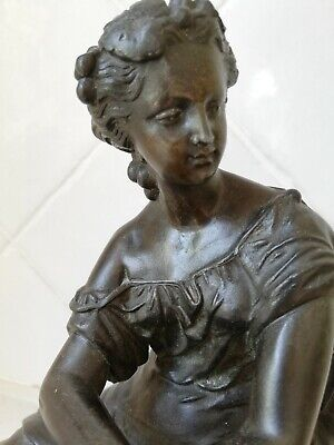 Antique bronze statue of classical Greek lady or goddess.  FREE POST