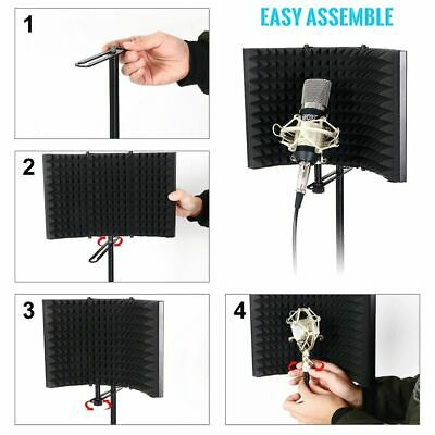 Acoustic Foam Microphone Isolation Screen Reflection Filter Arc Shield Studio UK