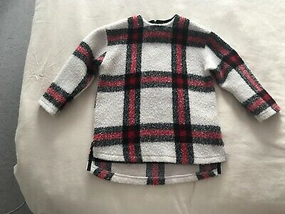 Age 6 White, Red And Black Check Jumper From Zara