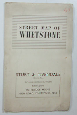 Approx 1950 old vintage street plan map of Whetstone