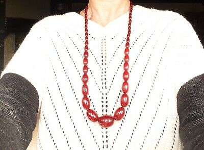 Antique Art Deco long Cherry Amber Bakelite Marbled Beads Necklace Bead Clasp