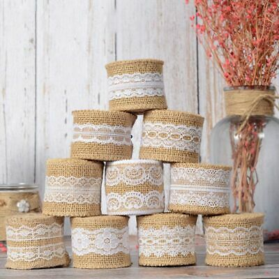 Natural Hessian Ribbon with Lace Jute Burlap Trims Tape Rustic Wedding Craft AU