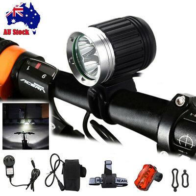 Rechargeable LED Bike Bicycle Light Waterproof Cycle Front Back Headlight Lamp