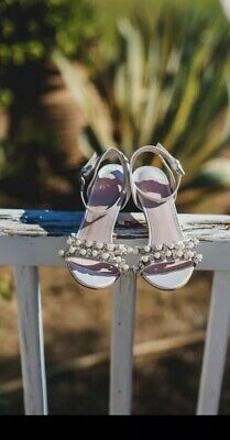 0f6f206032fe FAITH WEDDING HEELS SANDALS SILVER Ivory Jewelled Size 5 ASOS Dasha