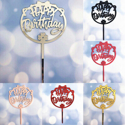 1pc Bow Acrylic Baking Cake Insert Decor Glittered Happy Birthday Cake Topper