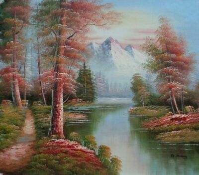 2a01a709f 20x24 Point Mountain Lanscape Scenery Oil Painting Naturalism Landscape  River