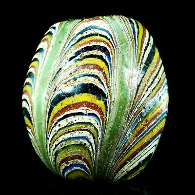 ORIGINAL OLD! JAVA Islamic Rainbow Feather Bead Sand Core Form Collectible