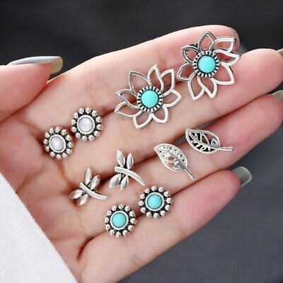 5pcs/Set Vintage Boho Flower Leaf Round Earrings Women Studs Wedding Jewelry Hot