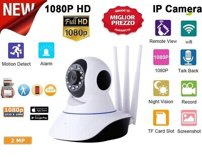 Telecamera Ip Cam Wi-Fi Hd 1080P Wireless Led 3 Antenne 2Mp Ir Motorizza
