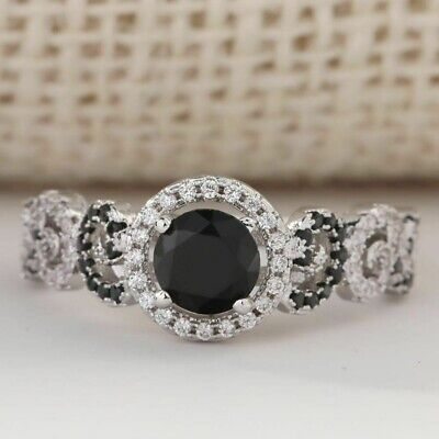 Certified 2.40Ct Round Cut White&Black Diamond In 14K White Gold Engagement Ring