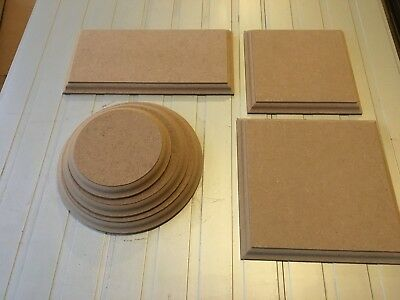 WOODEN PLAQUES Circles / Squares / Rectangles 12mm MDF blank display stands