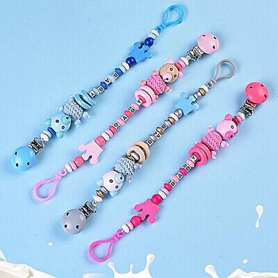 Cute Bear Crown Pacifier Clip Wooden Teething Soother Clip Baby Teether CB