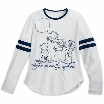 Disney store Women Winnie the Pooh Christopher Robin Tee Shirt Top NEW