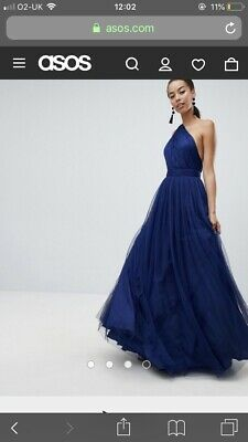 6c137c45c5f ASOS PREMIUM TULLE One Shoulder Dress Navy Bridesmaid BNWT Size 8 ...