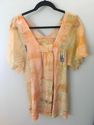 708abf0960a0 Maeve Anthropologie Orange Watercolor Short Sleeve Silk Dress, Size 6
