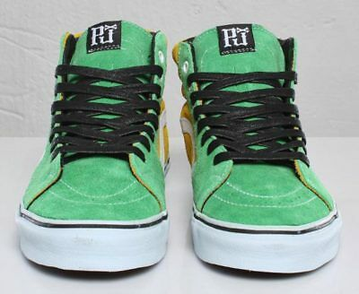 Pearl Jam Rare Green and Yellow Vans Sk8-Hi sneakers shoes size  M7 W 9