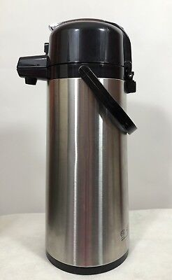 Service Ideas Brushed Stainless Steel Airpot Coffee Dispenser Pump 2.2 Liter