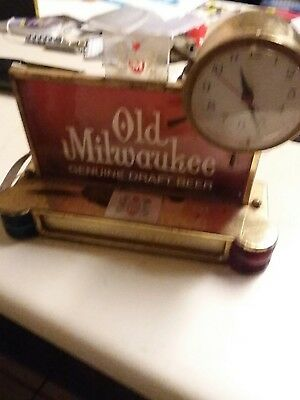 Vintage Old Milwaukee Beer Clock Cash Register Topper Lighted Sign With Chime