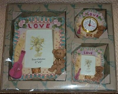 Bear Love Flowers Music Baby Girl Nursery Photo Frames and Clock Gift Box Set