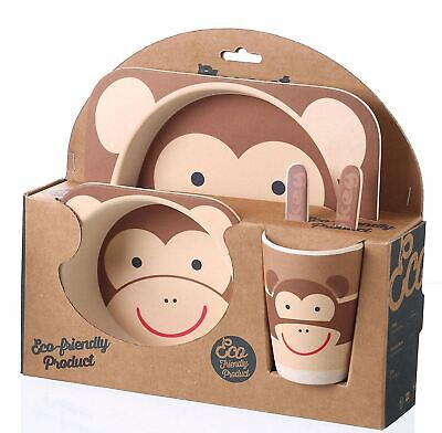 BAMBOO KIDS Meal Set Eco-Friendly Food-Safe Feeding 5pcs Spoon Plate Set Monkey