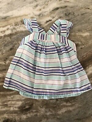 Janie and Jack Baby Toddler Girls 12-18m Stripe Criss Cross Back Ruffle Tank Top