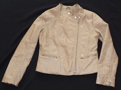 Mayoral Girls Faux Leather Moto Beige Natural Side Front Zipper Jacket sz 10