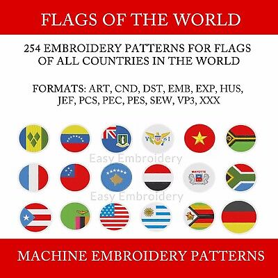 Flags of the world machine embroidery designs set - 254 Flag Embroidery patterns