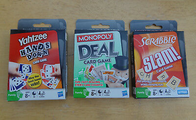 3 Card Games MONOPOLY DEAL, YAHTZEE HANDS DOWN, SCRABBLE SLAM! New and Sealed