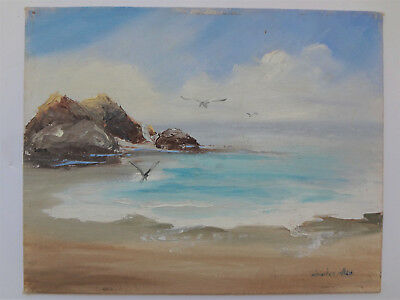 """8"""" x 10"""" Small Seascape Painting Oil on Canvas Signed Charles Allen"""