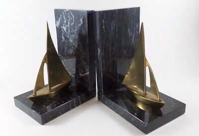 Bookends Nautical Vintage Sailboats Maritime Brass & Marble Approx 5x 3 1/2 x6.5