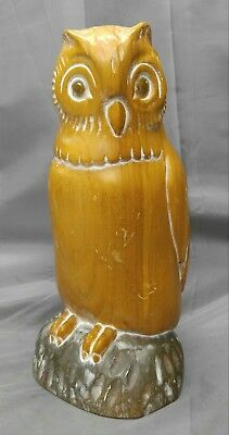 Hand Carved Wooden Wise Owl Figure Statue Sculpture Wood Carving