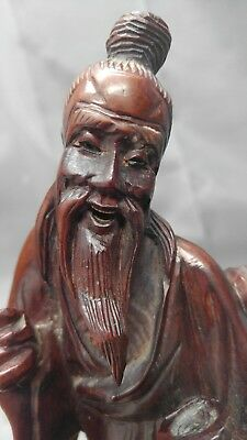 Antique Old Vintage Hand Carved Wooden Asian Chinese Taoist Imortal Figure...