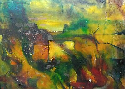 Vintage artist signed original Expressionist modern art abstract oil painting