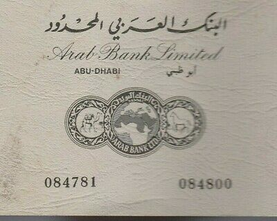 UAE Rare Cheque book ARAB BANK LIMITED Abu Dhabi 10 Checks 1989