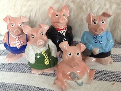 Immaculate, Original Set Of 5 Wade Nat West Pigs - Excellent Condition