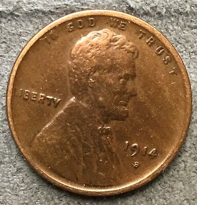 *1914 S* Lincoln Wheat Cent Penny Lightly Cleaned. X223 *Free Ship*