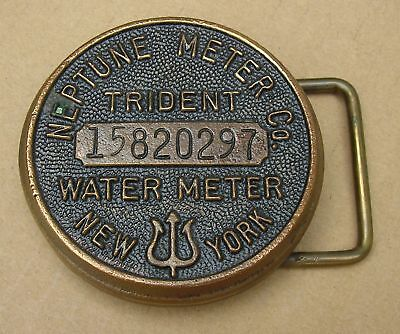 Vintage Belt Buckle - Trident Neptune Water Meter Cover / Cap - New York - Brass