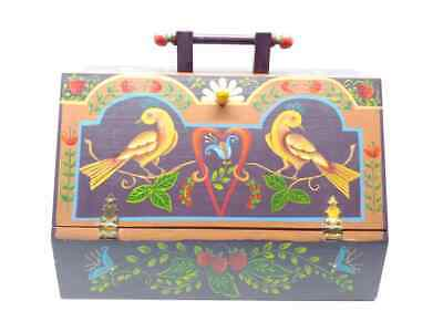 Vintage Wooden Sewing Utility Storage Box Caddy With Tray Folk Art Hand Painted