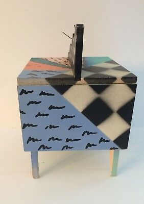 Vintage Hollis Fingold SIGNED Hand Painted Wooden Storage Jewelry Box 1980's