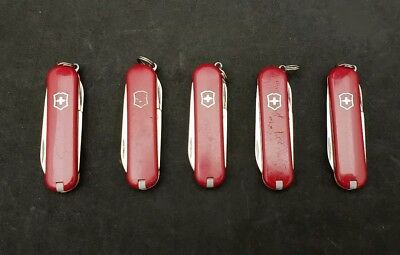 Lot of 5 Victorinox Swiss Army Pocket Knives - Red Classic SD Multi Tools