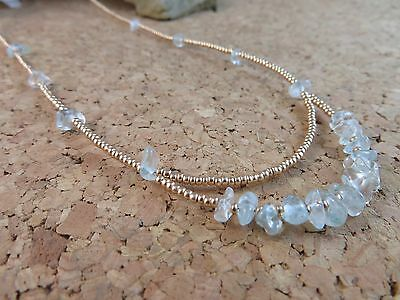 "Genuine Natural Aquamarine Gemstone Gold Czech Bead 18"" Necklace Earrings  #139"