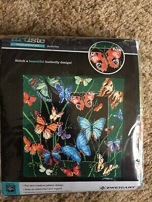 Artiste Needlepoint Kit- Needlework project- Butterflies-14in by 14in ages 14+-