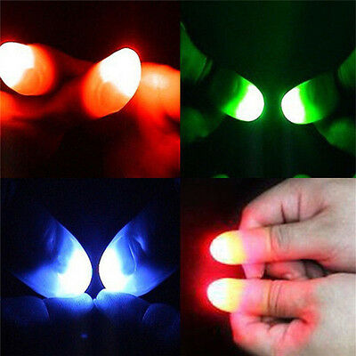 2Pcs Magic Super Bright Light Up Thumbs Fingers Trick Appearing Light Close V!