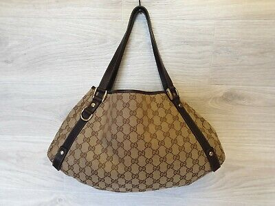 8ae3566b7 Auth GUCCI Abbey Signature D Ring Monogram Hobo Canvas Shoulder Bag Brown  Tote