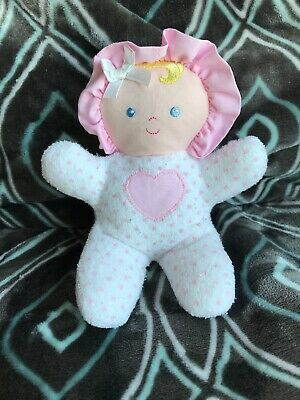 EDEN PLUSH BABY GIRL DOLL RATTLE HEART TERRY Cloth WHITE PINK POLKA DOT Lovey