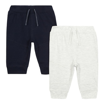 bluezoo - Pack of two baby boys' navy & grey ribbed jogging bottoms CR082 HH 11