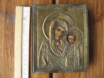ANTIQUE RUSSIAN RELIGIOUS ORTHODOX  ICON mother of God in bronz salary m
